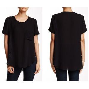 Tahari Black Sheer High Low Short Sleeve Top